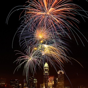 Fourth of July fireworks light up Charlotte North Carolina skyline