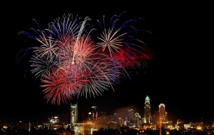 Fourth of July Fireworks burst over Charlotte, North Carolina's, Center City.
